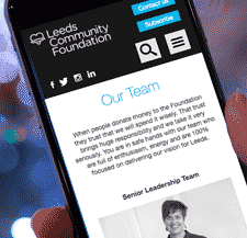 Leeds Community Foundation viewed on a mobile phone